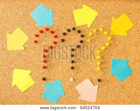 cork board three question marks and random arrows
