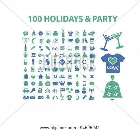 holidays, party, event, celebration isolated icons, signs, illustrations on white background for website, internet, mobile application, vector
