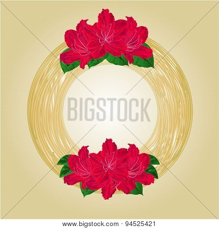 Wreath With Red Rhododendrons Vector