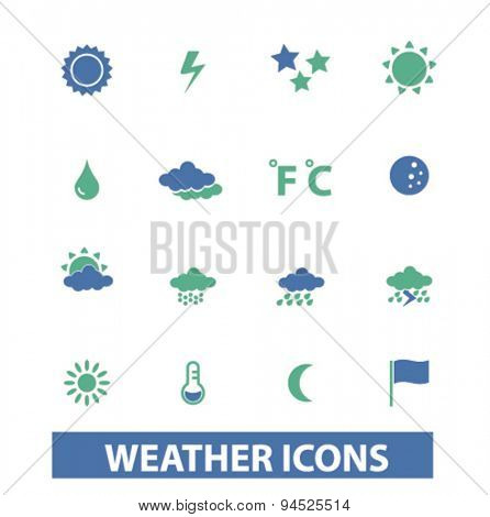 weather, climate isolated icons, signs, illustrations on white background for website, internet, mobile application, vector