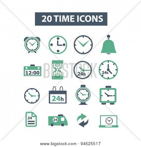 time, clock, minute, hours, 24h isolated icons, signs, illustrations on white background for website, internet, mobile application, vector