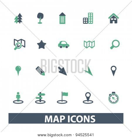 map, route isolated icons, signs, illustrations on white background for website, internet, mobile application, vector