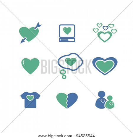 heart, love, relations isolated icons, signs, illustrations on white background for website, internet, mobile application, vector
