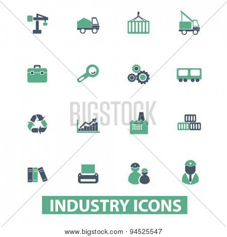 industry, factory isolated icons, signs, illustrations on white background for website, internet, mobile application, vector