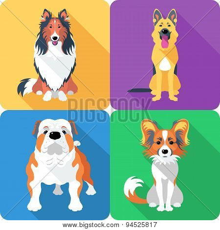 Set of 4 dog icons flat design