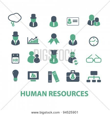 human resources isolated icons, signs, illustrations on white background for website, internet, mobile application, vector