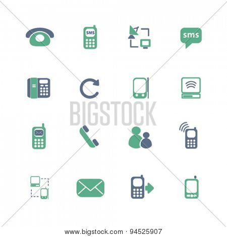 communication, connection isolated icons, signs, illustrations on white background for website, internet, mobile application, vector