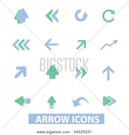 arrow, direction isolated icons, signs, illustrations on white background for website, internet, mobile application, vector