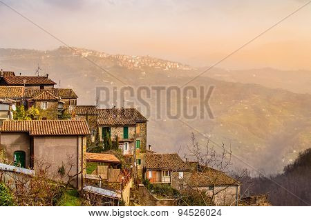 Dreamy landscape of old towns on the hills of Lazio in the misty morning