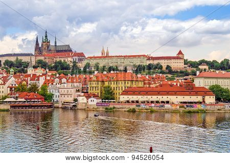 PRAGUE, CZECH REPUBLIC; Old city on the river Vltava, July 2014