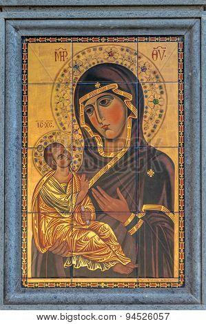 GROTTAFERRATA, ITALY; Mary with child Jesus byzantine style icon on the street wall, June 2015