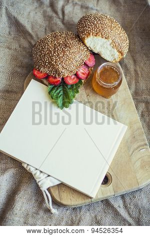 Cookbook Framed Breakfast Of Berries With A Bun And Honey