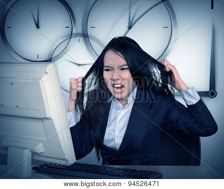 Asian Business Woman Get Angry Because Overtime Work
