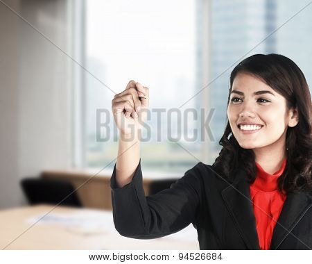 Business Woman Writing Video Marketing