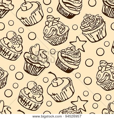 Collection of six cupcakes. Vector seamless illustration (background).