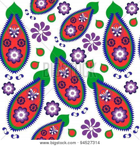 Colorful Odd Paisley Seamless Pattern And Seamless Pattern In Swatch Menu, Vector Illustration