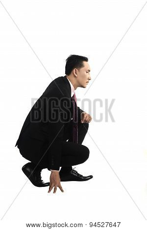 Asian Business Man Squat