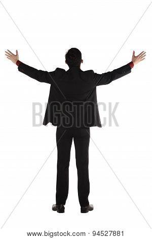 Asian Business Man Standing Backview