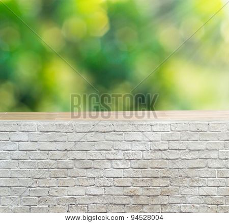 Empty Brick Wall With Foliage Bokeh Background