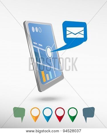 Envelope Icon And Perspective Smartphone Vector Realistic