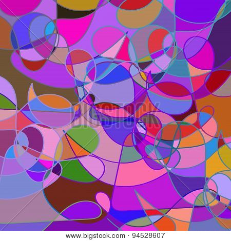 Abstract Geometric Colorful Rainbow Mosaic Backdrop  With Swirls, Vector Illustration