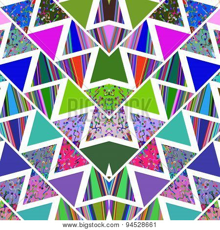 Geometric  Bright  Modern Repetition Mosaic Abstract Background With  Triangles, Swirls And Lines, V