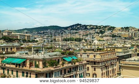 Italy Genoa View Of The City From Above