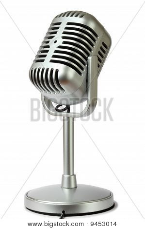 Plastic Studio Microphone Metallic Color On Pedestal, Side View, Isolated On White