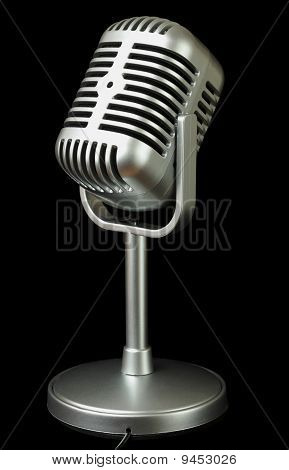 Plastic Studio Microphone Metallic Color On Pedestal, Side View, Isolated On Black