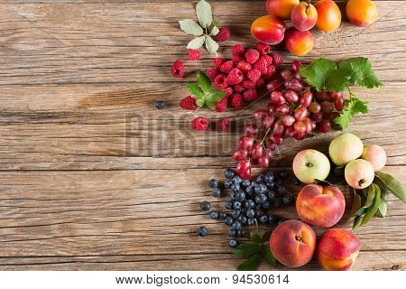 Mixed Of Berries And Fruits, Shot From Above