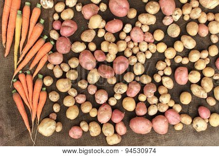 potatoes and carrots raw vegetables food for pattern texture and background