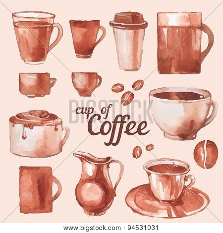 Watercolor Vintage Cups Of Coffee