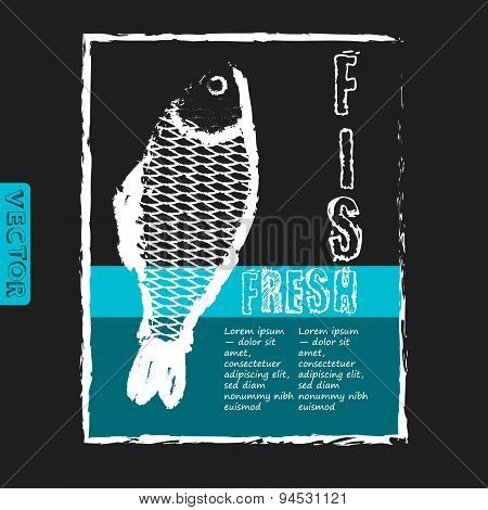 vector template for fish menu with retro effect