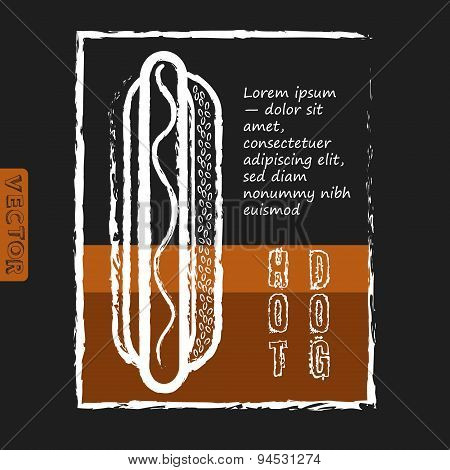 Hot dog. Fast food delicious. Menu design.  Vintage Clip Art.  Vector image of engraving on black ba
