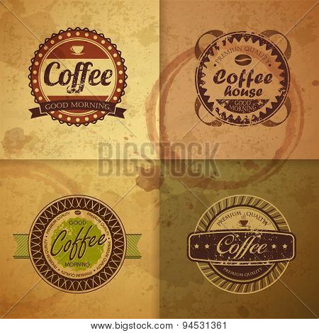 Collection Of Vintage Coffee Design Labels