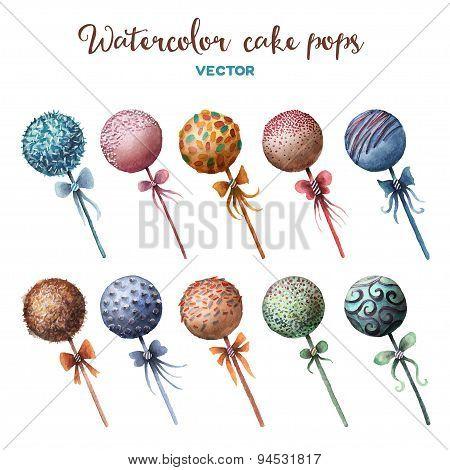 Vector watercolor cake pops set.