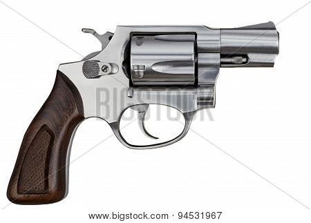 Pistol Revolver Handgun Isolated On White Background