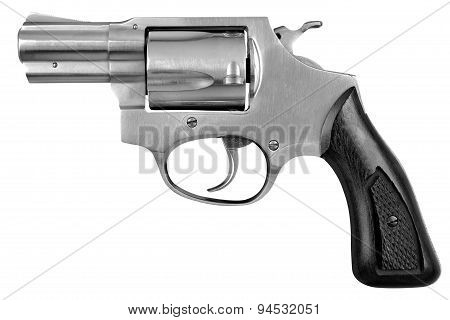 Pistol Revolver Firearm Gun Isolated On White Background
