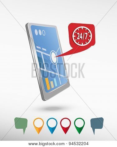 24 Hours Service Sign And Perspective Smartphone Vector Realistic.