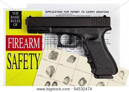 Pistol Handgun With Firearm Application And Ccw Permit Fingerprint Id