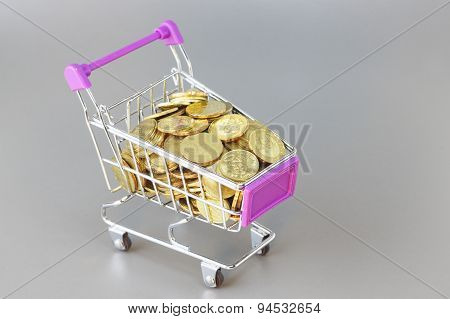Gold Coins And Trolley - Business Concept