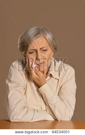 Senior woman with handkerchief