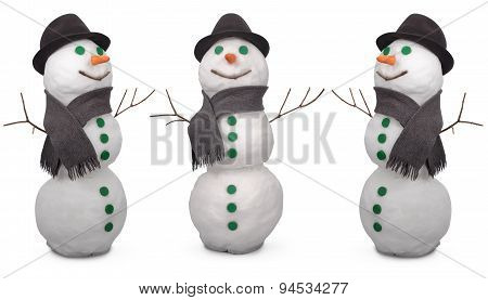 Three White Snowman Whith Scarf And Felt Hat