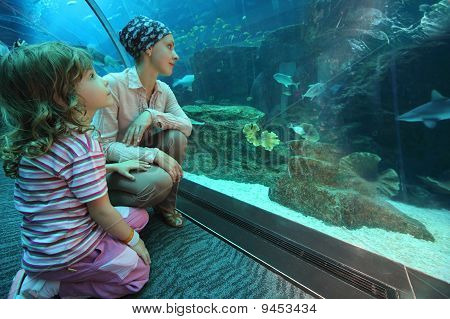 Mother And Daughter Sitting On Floor In Underwater Aquarium Tunnel, Wide Angle