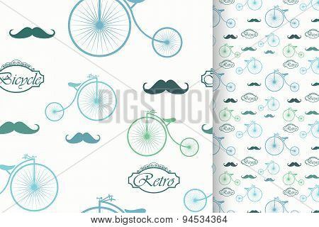 Retro Bicycle And Moustache, Seamless Pattern, Vintage Elements Background