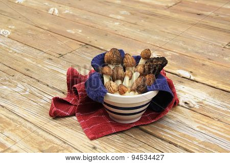 Wild Morel Mushrooms in a Crock with Towels