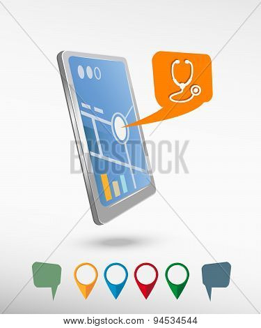 Stethoscope  Icon And Perspective Smartphone Vector Realistic