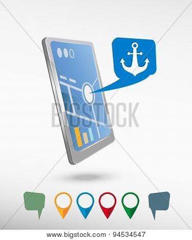 Anchor Icon And Perspective Smartphone Vector Realistic
