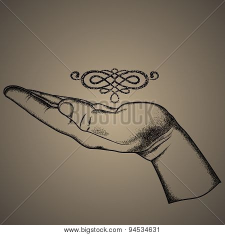 Vector sign-keep hand ,hand drawing, offset printing.engraving style.