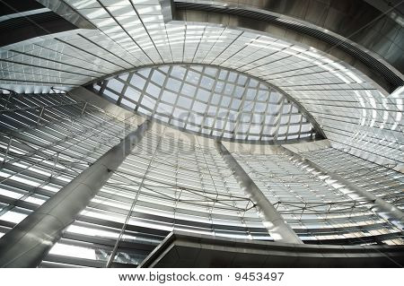 Glass Ceiling In Public Building With Metal Columns, Abstract Background